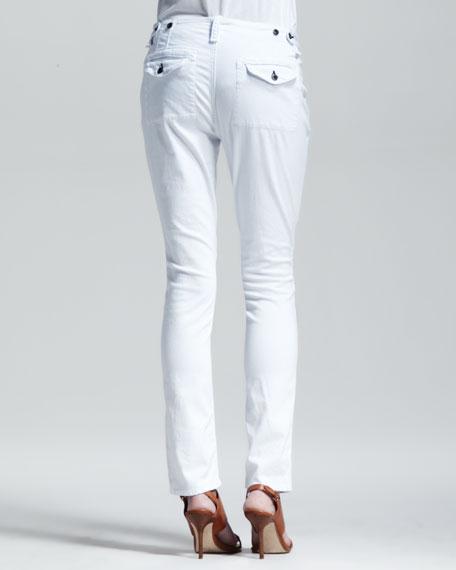 Bowery Slim-Leg Utility Pants, Bright White