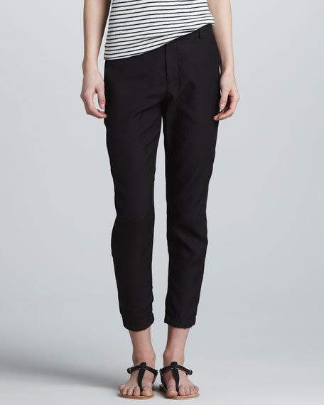 Relaxed Cropped Twill Trousers