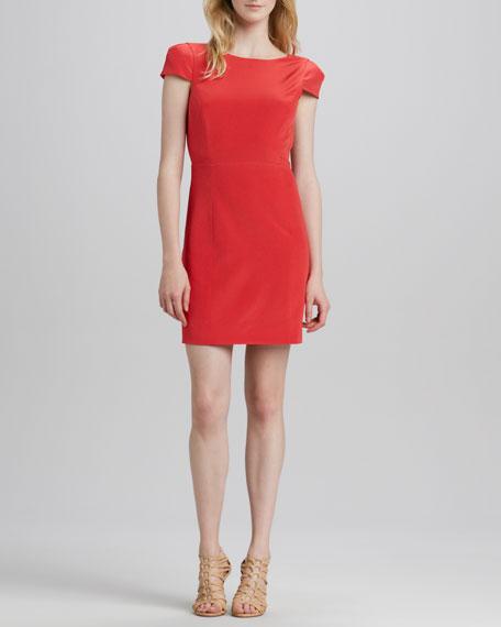 Jewel-Neck Open-Back Dress
