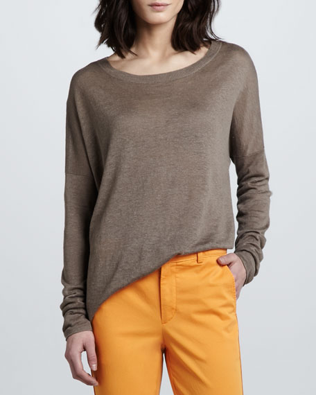 Boat-Neck Slub Sweater