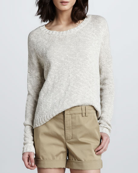 Rib-Trim Knit Sweater