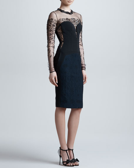 Beaded Sheer-Yoke Long-Sleeve Dress, Eclipse