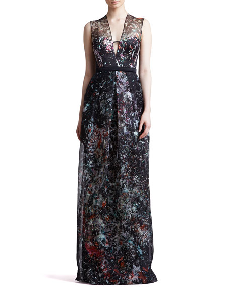 Splatter-Print Organza Illusion Gown, Black/Multicolor