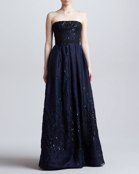 Sequined Strapless Organza Ball Gown, Navy