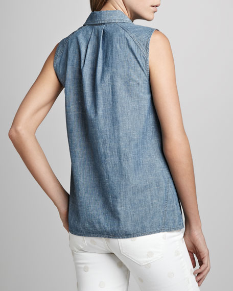 Corey Sleeveless Chambray Shirt