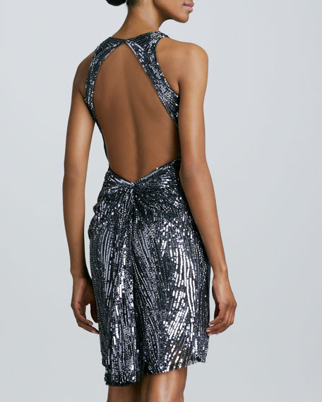 Low-Back Beaded Cocktail Dress