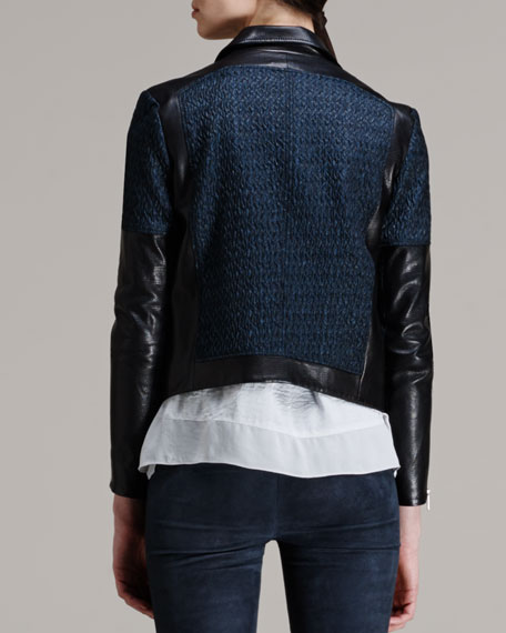 Leather-Trim Jacquard Moto Jacket