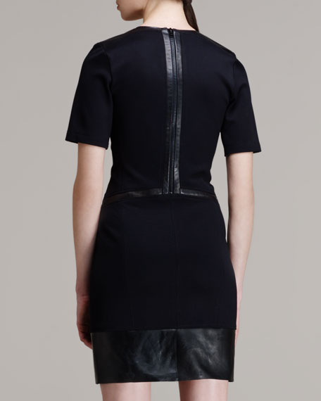 Motion Leather-Trim Dress