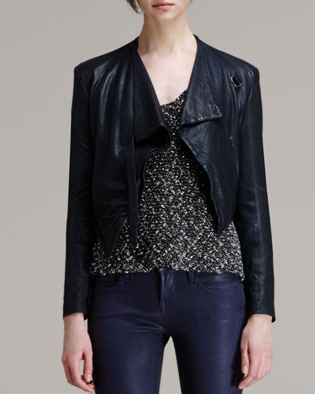 Washed Leather Cropped Jacket