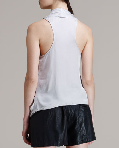 Glossy Cross-Front Shirting Top