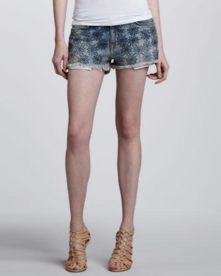 Embroidered Denim Boyfriend Shorts
