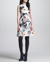 Carven Collage-Print Sleeveless Dress, Multicolor
