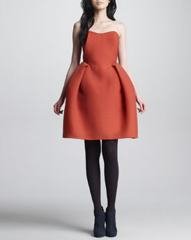Carven Wool Gazar Bustier Dress, Orange-Red