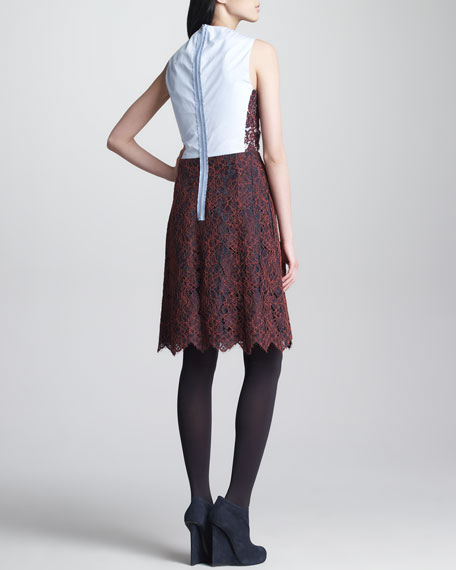 Oxford-Back Lace Dress, Bordeaux