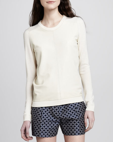 Yulia Leather-Front Sweater