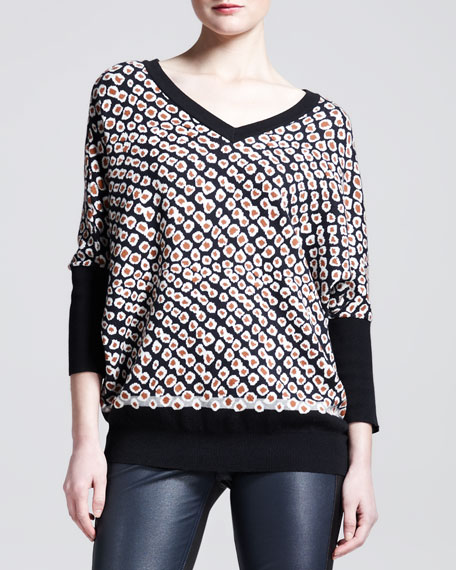 Printed Dolman-Sleeve Sweater