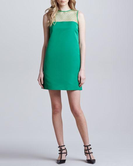 Point d'Esprit Silk Faille Shift Dress, Green