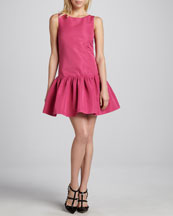 RED Valentino Sleeveless Dropped-Waist Dress, Hibiscus