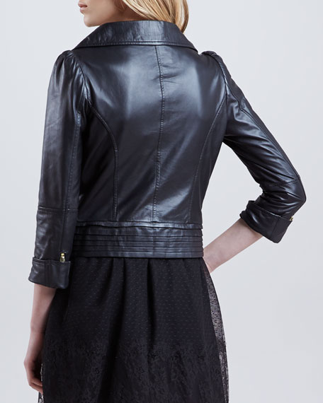 Napa Leather Moto Jacket, Black