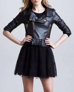 RED Valentino Napa Leather Moto Jacket, Black