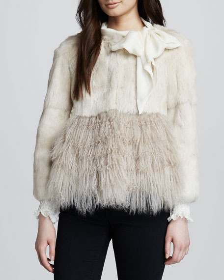 Rabbit & Mongolian Fur Jacket, Sand