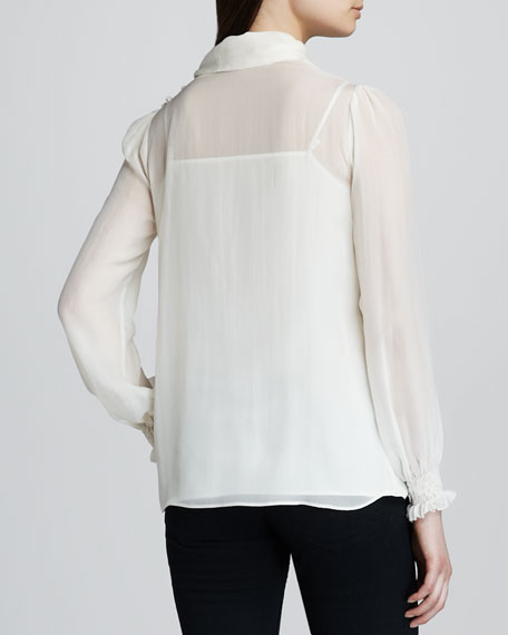Chiffon Tie-Front Blouse