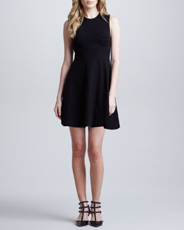RED Valentino A-Line Knit Dress with Open Bow Back Detail, Black
