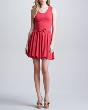 RED Valentino Sleeveless Dress with Bubble Hem, Hibiscus