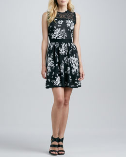 RED Valentino Lace Inset Floral Knit Dress, Black/Green
