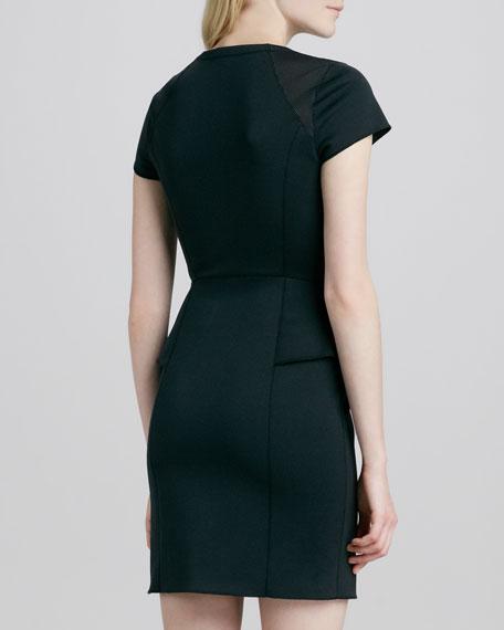 Tenna Peplum Front-Zip Dress