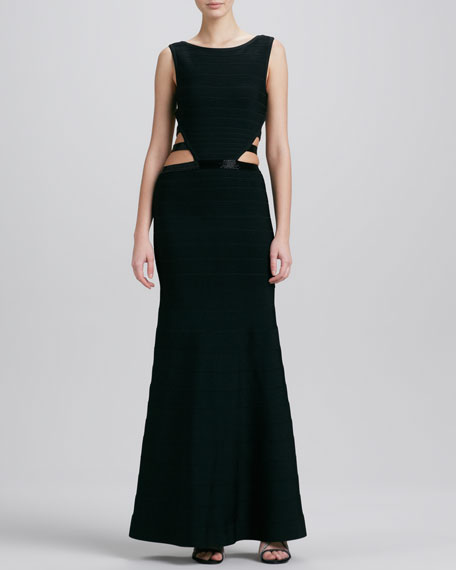 Cutout-Side Long Bandage Gown