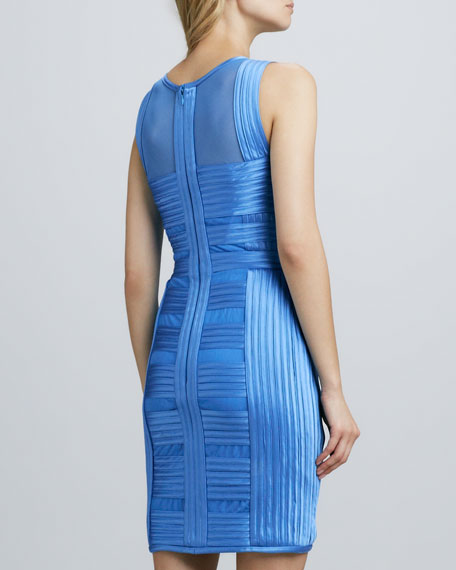 Sheer-Panel Charmeuse Dress