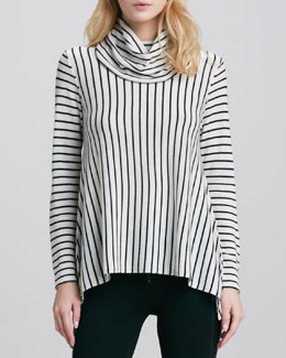 Alice + Olivia Striped Draped Turtleneck