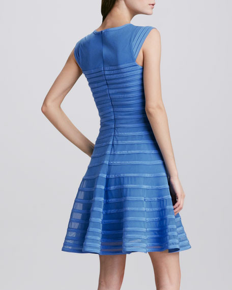 Tonal-Stripe Flared Dress