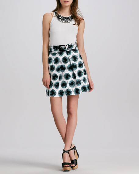 Aude Belted Printed Skirt