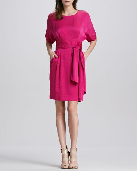 Eleanor Belted Stretch-Silk Dress