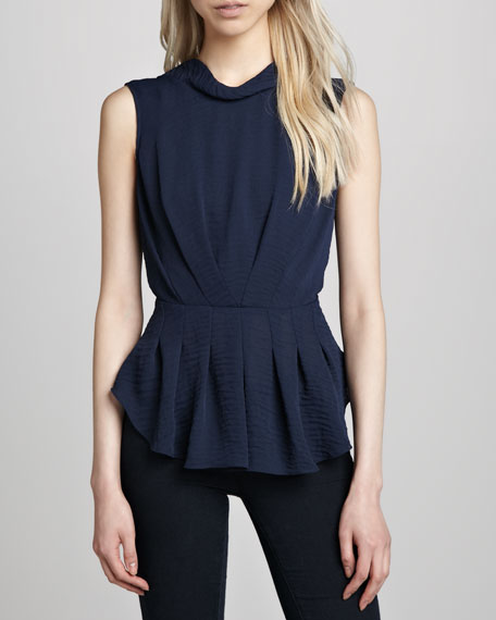 Pleated Hammered-Crepe Top
