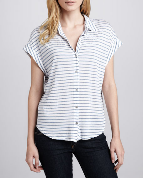 Chambray-Stripe Blouse