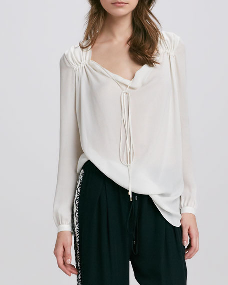 Gypsy Tie-Neck Blouse, Swan