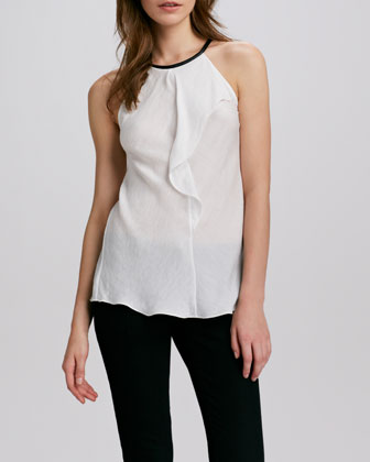 Sleeveless Leather-Neck Top