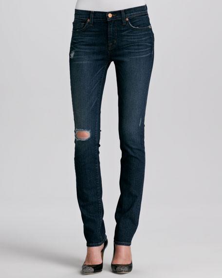 Mid-Rise Distressed Slim Jeans