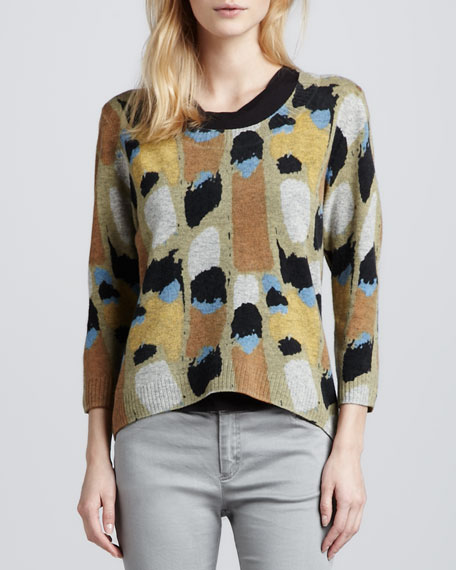Printed Cropped Wool Pullover