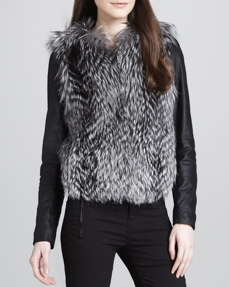 Leather-Sleeve Fur Jacket