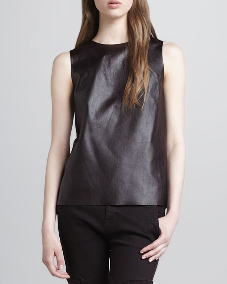 Silk/Leather V-Neck Top, Mulberry