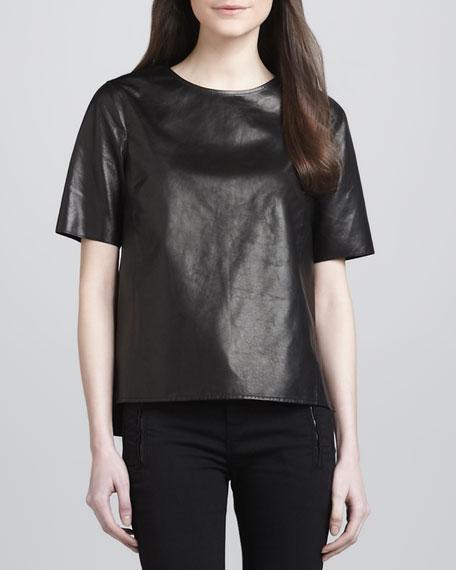 Side-Slit Leather Tee, Black