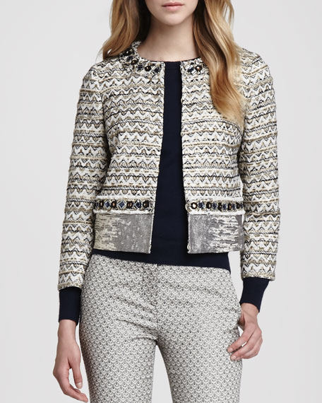 31cd7e9cd08 Tory Burch Vanessa Mix-Fabric Beaded Jacket