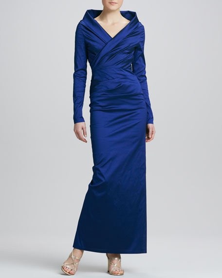 Long-Sleeve Ruched Taffeta Gown, Enzian