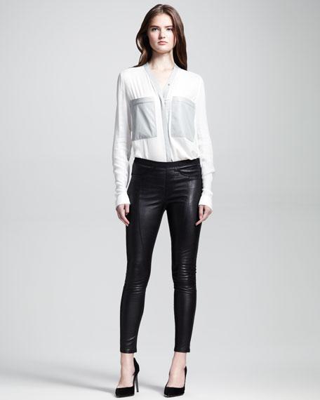 Cropped Zip-Leg Leather Leggings