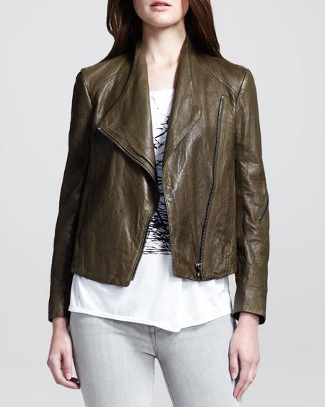 Crinkled Leather Moto Jacket