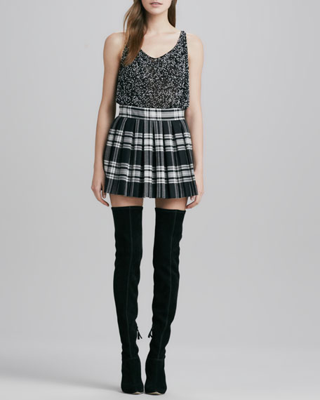 Fizer Box-Pleated Plaid Skirt